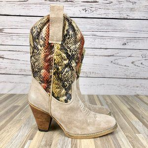 Very Volatile Snake Suede Cowboy Boots Size 7